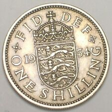 1954 UK Britain British One 1 Shilling Lions Shield Coin VF+