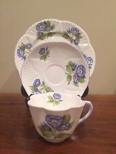 Shelley MORNING GLORY Dainty Flat Cup & Saucer & Salad Plate Set