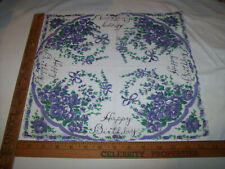 VINTAGE 1950's HAPPY BIRTHDAY LADY'S COLLECTION PURPLE FLOWERS FLORAL HANKIE