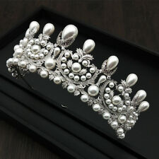 Luxury All CZ Cubic Zirconia Pearl Wedding Bridal Party Pageant Prom Tiara Crown