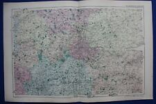 Original antique map ENVIRONS OF LONDON, RAILWAYS, G.W. Bacon, 1896
