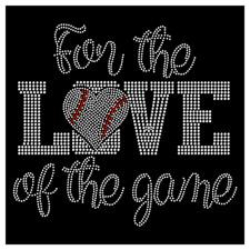 For The Love of The Game Baseball Heart Mom Rhinestone Hotfix Iron On Transfer