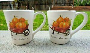 "Set of Two Pier 1 Imports Hello Autumn Pumpkin Harvest Thanksgiving Mug 4 1/2"" T"