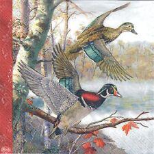 4 single paper decoupage napkins. Wild birds, wild ducks, forest, design -251