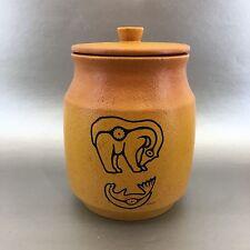 Vintage Blue Mountain Pottery Canada Golden Bear Canister Signed Apakark Crack