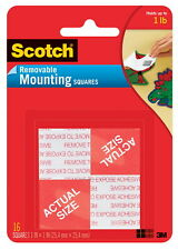 New listing Scotch Removable Mounting Square, 1 L x 1 W in, Clear, Pack of 16