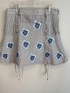 Desigual denim floral striped mini skirt size 44/L