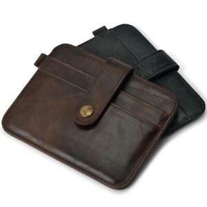 Men's Slim Genuine Leather Thin Wallet ID Money Credit Card Holder Money Pocket