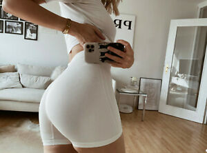 Sexy yoga Shorts Seamless Gym S 36 rippstrick Weiss push up effect comfy Insta