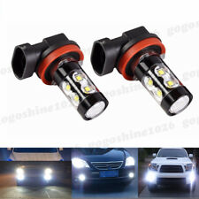 2x H11 H8 H9 60W 7000K White LED Projector High Power Fog Driving Lights Bulbs