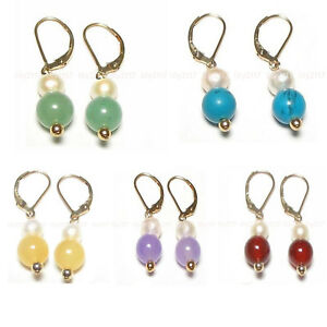 10mm Multi-Color Jade Round Gems 7-8mm White Pearl Gold Dangle Leverback Earring