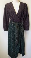 NWOT Zara Woman Size Small Black Multi Color Polka Dot Tie Waist Wrap Dress
