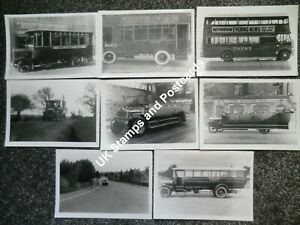 8 Photographs Featuring 1920s/1930s Trent Buses & Charabancs See  Scans