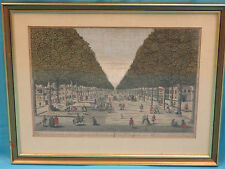 18 c HAND COLORED ENGRAVING HORTICULTURAL VIEW PARIS GOLD LEAF FRAME