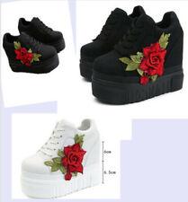 Damen Hidden Wedge Blume Plateauschuhe Crepper Tuch Schuhe Schnürhalbschuhe Neue