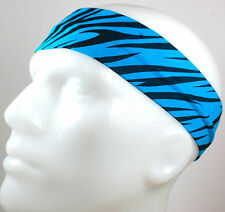 "NEW 2"" Super Soft Blue Black Zebra Hair Band Head Sport Sweat Headband Stretch"