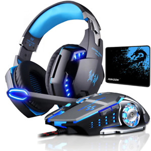 Gaming Headset Mouse Stereo Gaming Microphone Headphones 4000 DPI Wired PC Mice