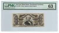 50 CENTS FRACTIONAL CURRENCY THIRD ISSUE, PMG CHOICE UNCIRCULATED 63, FR-1328