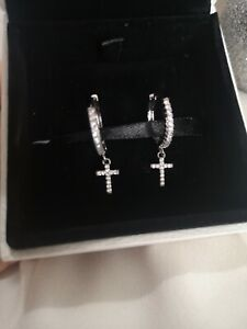 Silver plated cubic zirconia small hoops with cross