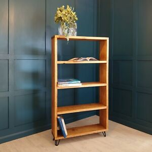 Bookcase Shelf Industrial Planed Wood [With Hairpin Legs] By Sustain Furniture