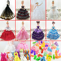 10Pcs Fashion Handmade Dresses Clothes For Barbie Doll Style Random Gift Set