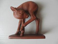 HERTWIG KATZHÜTTE Rehkitz Reh Bambi Figur braun Keramik 9,5cm hoch