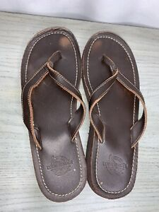 Eddie Bauer Flip Flops Sz 7.5 Brown Leather Thong Wedge Sandal Beach