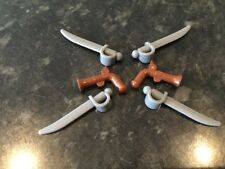 NEW Lego x2 Flintlock Pistol Guns (Reddish brwn) &x4 Cutlass Swords (Dk Bl Grey)