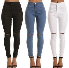 Women High Waist Skinny Pants Ripped Knee Jeans Stretch Celeb Leggings Size 6-14