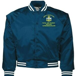 NAVAL AIR STATION KEFLAVIC ICELAND NAVY EMBROIDERED 2-SIDED SATIN JACKET