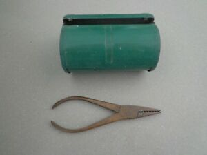 Vintage Fishing Brass Worming Pliers and Bait Tin
