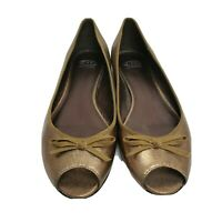 Circa Joan and David 10 M antiqued gold leather peep- toe ballet flats