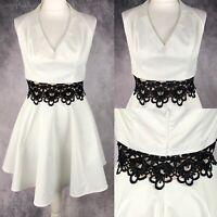 Lipsy White Halterneck Skater Dress Black Lace Middle UK Size 16 Occasion Party