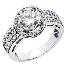 3.2 CT Round Man Made Diamond Engagement Ring 14K White Gold Antique 4 5 6 7 8 9