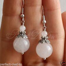 Round white Jade gemstone earrings 925 sterling silver hooks Tibetan Jewelry
