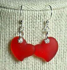 "jewelry puffed Heart 1"" silver earrings Red Handmade Beach glass, sea glass"