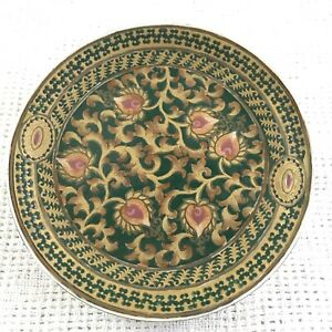 Vintage Decorative Plate 10in Ceramic Ornate Green Gold Pink Round Dish