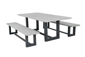 Jervis Outdoor Concrete Outdoor Dining Setting