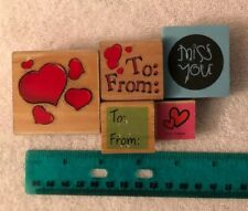 Lot Of 5 Wood Runber Stamps To: From:  Hearts Used Crafting Scrapbooking Lot-11