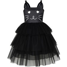 Mädchen Kleid Katze Gesicht Schwarz Turm Rüsche Tanzen Party Gr. 98-134