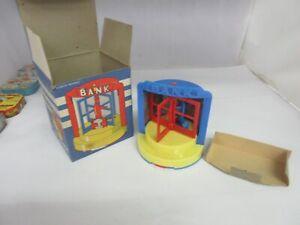 VINTAGE RENWAL PLAY BANK FOR SAVINGS PLASTIC ORIGINAL BOX  M-373