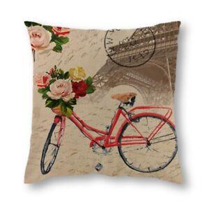 """18"""" Pillow Case Paris Landscape Cotton Linen Throw Cushion Cover Home Car Decor"""