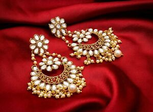 Non-Precious Metal Gold Plated Pearl Earrings For Women's & Girls a295