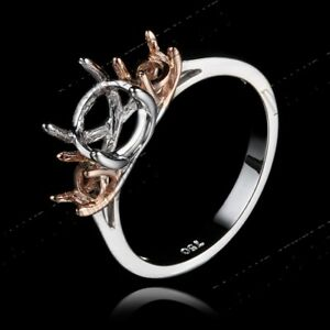Three Stone 5.5-7mm Round Semi Mount Ring Setting Solid 10K White & Rose Gold