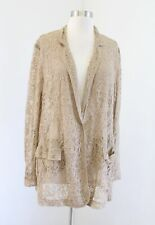 Chico's Womens Tan Sheer Floral Lightweight Lace Blazer Jacket Chicos Size 3