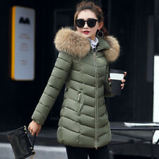 Women Winter Warm Fur Collar Hooded Long Coat Jacket Slim Parka Outwear Coats