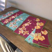 Crate & Barrel Wild Orchid Placemats set of 4+4 Napkins Fushia Pink Aqua Blue