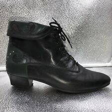 Vintage Sz37 4 Bally Black & Green Leather Ankle Boots Booties With Studs Womens