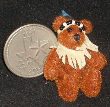 Dollhouse Miniature Tan Leather Native American Indian Bear Stuffed Animal 1:12