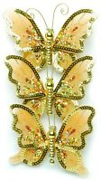 Wedding or Christmas Butterflies Clip on Decorations in Gold Silver or Red